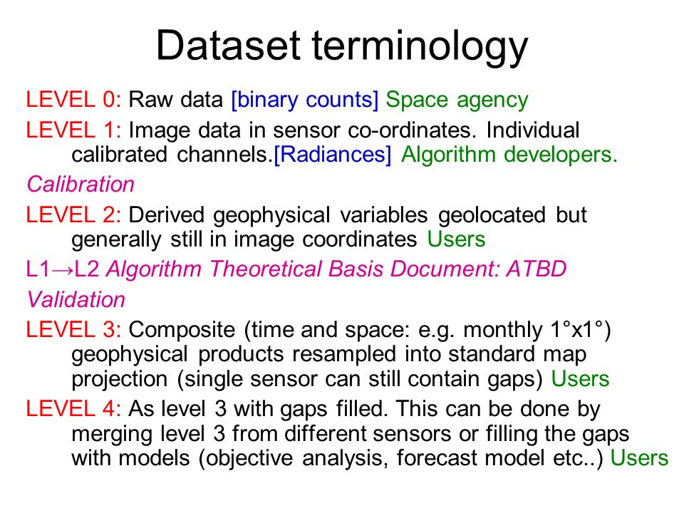 Dataset terminology LEVEL 0: Raw data [binary counts] Space agency